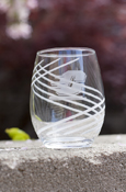 Etched Flying C Swirl Stemless Wine Glass