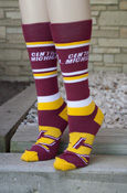 Central Michigan Flying C Maroon, Gold, And White Striped Socks