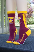 Flying C Script Chippewas Maroon And Gold Crew Socks