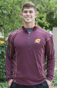 Columbia Flying C Maroon 1/4 Zip With Gold Stitching