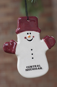 Central Michigan Snowman with Maroon Hat & Gloves Ornament
