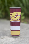 Flying C Maroon, Gold, And White Stripes Shooter Glass With Chippewas On Back