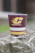 Flying C Maroon, Gold, And White Striped Shot Glass With Chippewas On Back