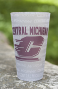 Central Michigan Flying C Multi-Words Frosted 16Oz Glass