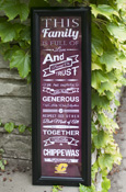 """This Family"" Framed 8x24 Vertical Sign"
