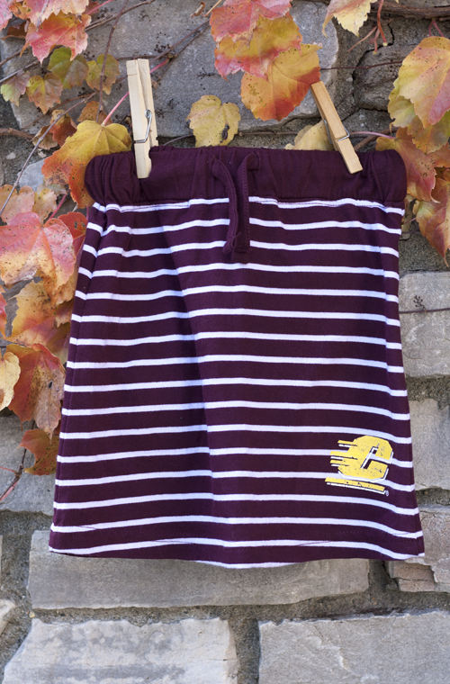 Distressed Flying C Maroon Striped Skirt