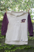 Distressed Flying C Cream & Maroon Henley With Large Central Michigan Flying C On Back
