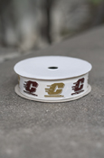 "Maroon & Gold Repeat Flying C 3/4"" Ribbon Roll"
