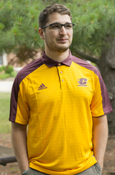 Polo - Adidas Reflective Gold With Maroon Collar - Mens