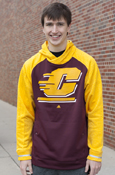 Large Flying C Maroon Body And Gold Sleeves Adidas Hoodie With Buttoned Pockets
