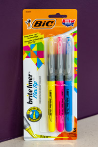 Bic 3 Assorted Bright Liner Fluorescent Highlighters