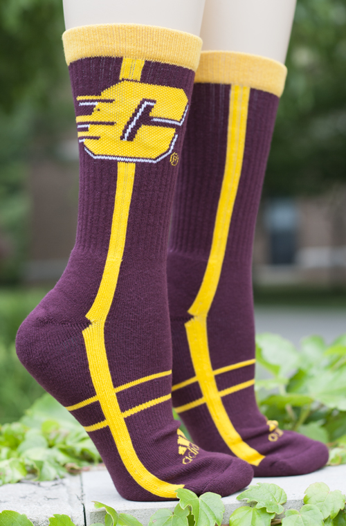 Flying C Maroon Adidas Crew Socks With Gold Stripes (SKU 5026555857)