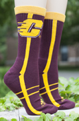 Flying C Maroon Adidas Crew Socks With Gold Stripes