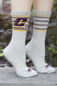 Flying C Double Stripes Gray Adidas Crew Socks