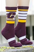 Flying White And Gold Striped Maroon Adidas Socks