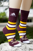 Maroon, Gold, And White Striped Flying C Adidas Crew Sock