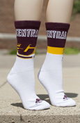 Outlined Central Michigan Flying C Maroon, Gold, And White Adidas Socks
