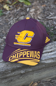 Flying C Angled Chippewas Maroon Adidas Hat With Central Michigan On Reverse