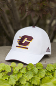 Flying C Structured Mesh White Adidas Hat With Chippewas On Back