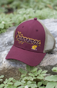 Raised Script Chippewas Flying C Hat With Gold Mesh And Flying C On Back