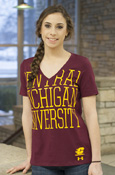 Central Michigan University Large Letters Under Armour V-Neck