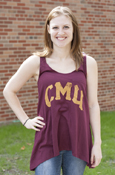 Distressed C M U Maroon Ladies Tank With Pocket