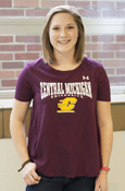 Central Michigan Flying C Ladies Under Armour Maroon Tee