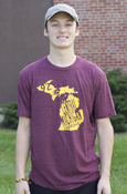 State Of Michigan Central Michigan Distressed Maroon T-Shirt