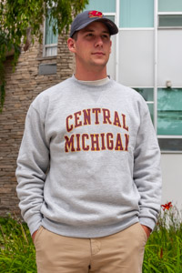 Central Michigan Block Letters Oxford Gray Crew