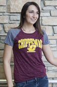 Chippewas Flying C Ladies Maroon Tee With Gray Sleeves