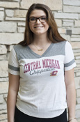 Distressed Central Michigan Script Chippewas Ladies V-Neck