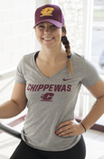 Chippewas Flying C Nike Ladies Heather Gray V-Neck