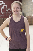 Ladies Maroon Tank With Flying C On The Pocket