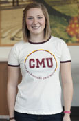 Circle C M U Central Michigan University Ladies White Ringer Tee