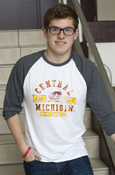 Central Michigan Flying C Est. 1892 White Distressed 3/4 Sleeve Shirt