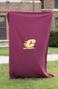 "54X84"" Applique Flying C Maroon Sweatshirt Blanket"