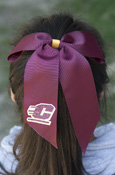 Sparkle Flying C Maroon Ponytail Bow
