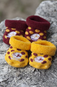 Flying C Maroon and Gold Polka Dot Baby Booties - 2 pack
