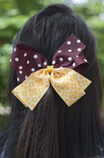 Maroon Polka Dot and Gold Pattern Bow Barrette