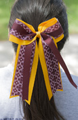 Gold And Maroon Pattern Ponytail Bow
