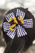 Maroon Gingham Windmill Bow Barrette