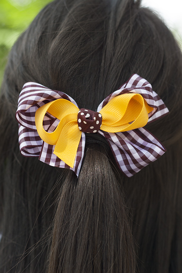 Gold And Gingham Bow Barrette (SKU 5029908923)