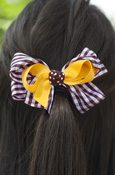 Gold And Gingham Bow Barrette
