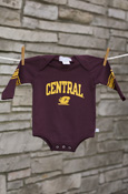 Central Flying C Long Sleeve Distressed Maroon Onesie With Stripes On Sleeves