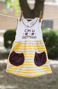 Cmu Chippewas Gold Striped Dress With Maroon Pockets
