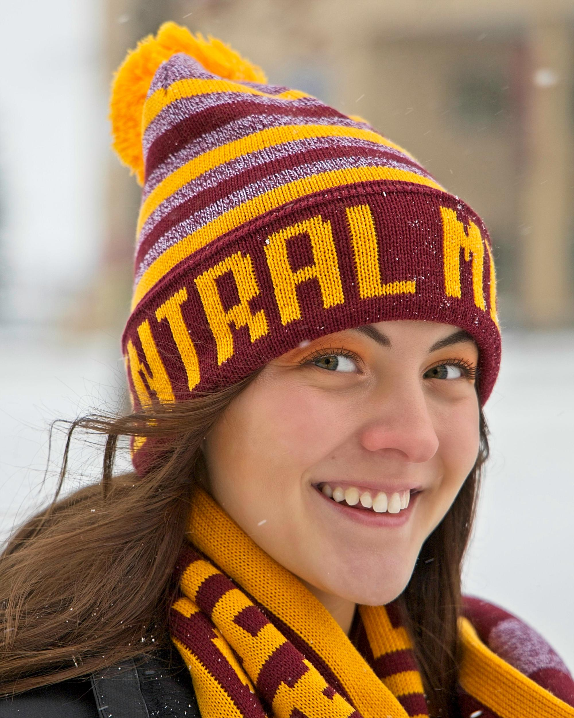 Central Michigan Gold And Heather Maroon Striped Pom Hat (SKU 5029979943)