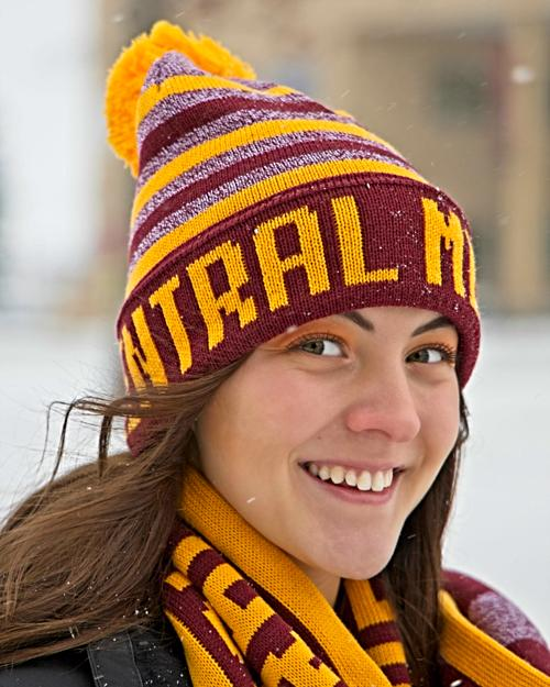 Central Michigan Gold and Heather Maroon Striped Pom Hat