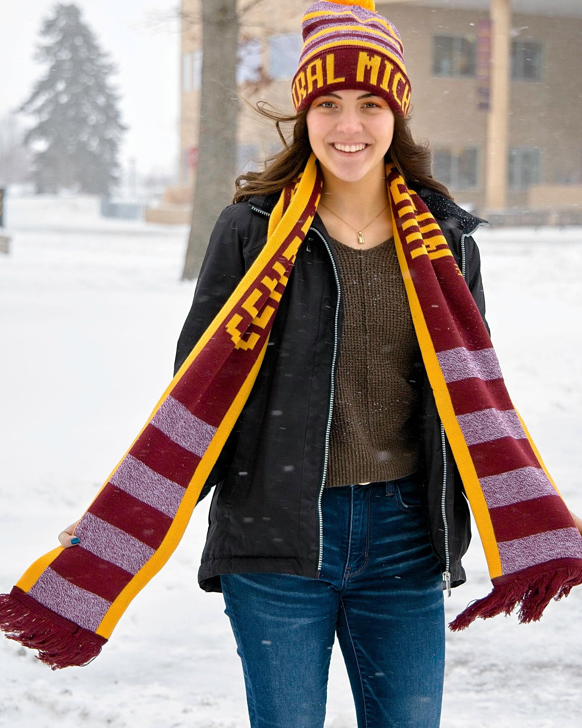 Central Michigan Gold And Heather Maroon Scarf (SKU 5029980543)