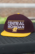 Central Michigan Flying C Adidas Flatbrim Snapback Hat With Gold Brim