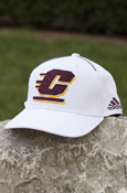 Flying C Adidas White Hat With Vertical Chippewas On Back